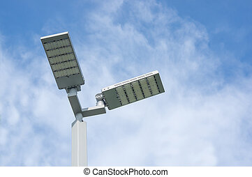 LED street lamps. - LED street lamps post on sky background.