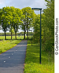LED Street Lighting along a Cycling Track with Low Dispersal Light Pollution, Ideal for Migrating Bats and other Night Life