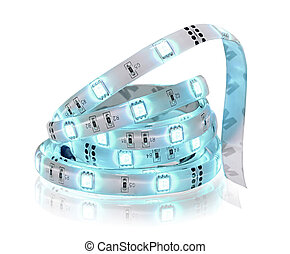 Led stripe in coil isolated on white. Diode strip. - Led ...