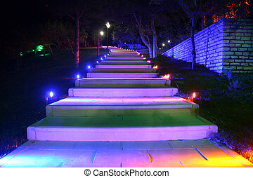 LED-lit walking path technology