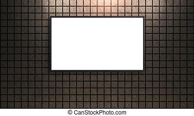 led tv display on square brick wall