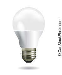 Led white light bulb as inspiration concept - Bright glowing...