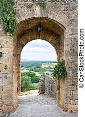 ledande, bygd, tuscan, italien, medeltida, dörröppning