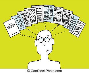ledande, dokument, förbrukare
