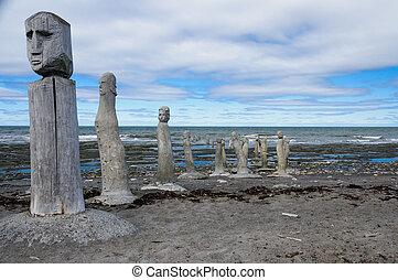 ledande, statyer, st., laurence, flod, stenarbete