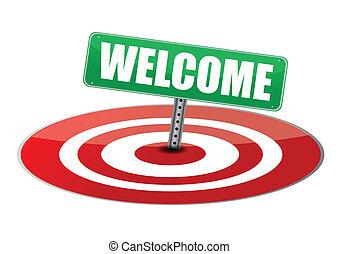 ledande, välkommen, måltavla, underteckna