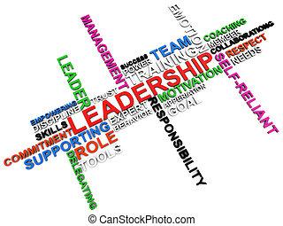 ledarskap, ord, moln, över, vit fond