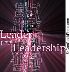 ledarskap, ord, moln, glödande