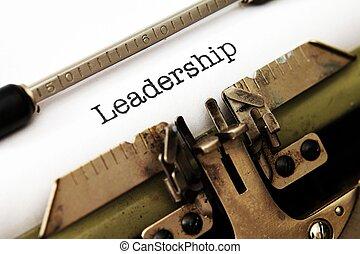 ledarskap, text, på, skrivmaskin