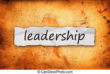 ledarskap, titel, på, stycke om papper