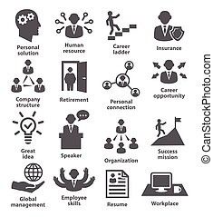 ledelse, branche folk, iconerne