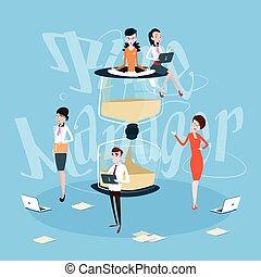 ledelse, firma, arbejdere, proces, hold, iagttag, sand, begreb, tid