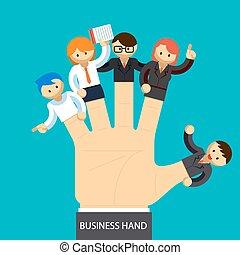 ledelse, firma, hånd., hånd, ansatte, begreb, fingers., åbn