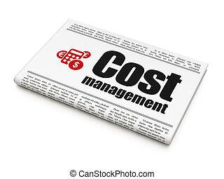 ledelse, firma, regnemaskine, bekostningen, avis, concept: