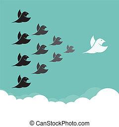 ledelse, flyve, himmel, fugle, flok, begreb