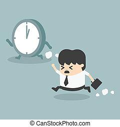 ledelse, forretningsmand, tid, løb