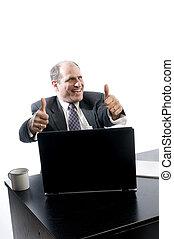 ledelse, held, skrivebord, senior, spændte glade