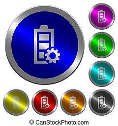 ledelse, magt, farve, knapper, coin-like, lysende, omkring