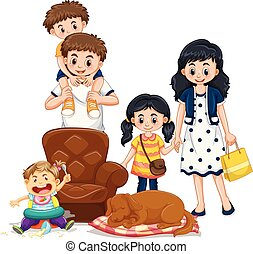 leden, gezin, ouders, geitjes