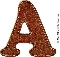 leder, alphabet., brief, textured