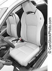 leder, bestuurder, zetels, in, luxe, sportscar