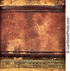 leder, boek, grens, detail