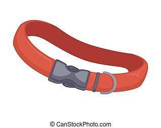 leder, collar., vektor, hund, rotes