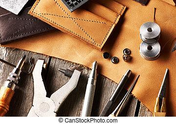 leder, crafting, werkzeuge