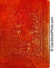 leder, decora, oud, rood, textuur