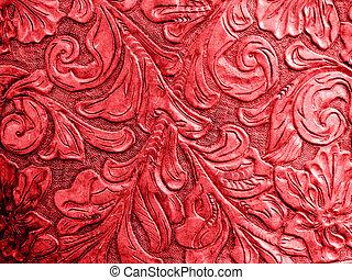 leder, embossed, rood