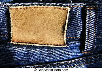 leder, etikett, jeans