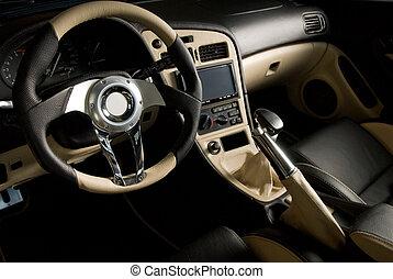leder, gestemd, auto., luxe, interieur, sportende