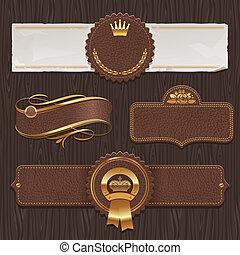 leder, goldenes, etiketten, &, gerahmt