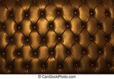 leder, gouden, luxe, meubel