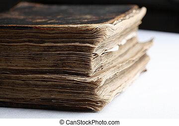 leder, hard, oud, boek, cover.