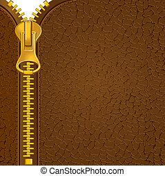 leder, materiaal, zipper