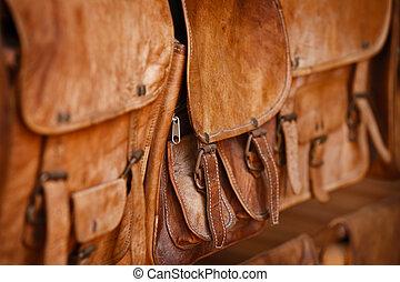 leder, rgeöffnete, markt, handtaschen