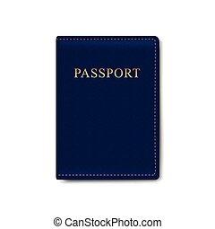 leder, vector, dekking, vrijstaand, paspoort