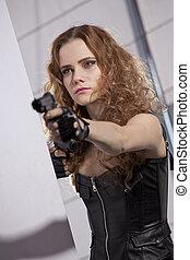 leder, vrouw, pistool, uitrusting