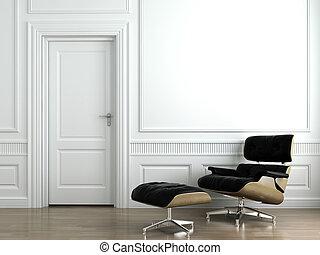 lederene armstoel, op wit, interieur, muur
