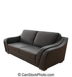 ledern sofa, freigestellt, hintergrund., vektor, schwarz, weißes