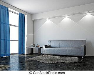 ledern sofa, livingroom