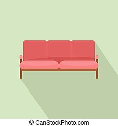 Ledger sofa icon, flat style - Ledger sofa icon. Flat...