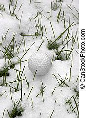 ledig, kugel, golfen, schnee, dimpled