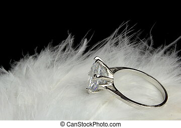 ledig, stein, diamantring