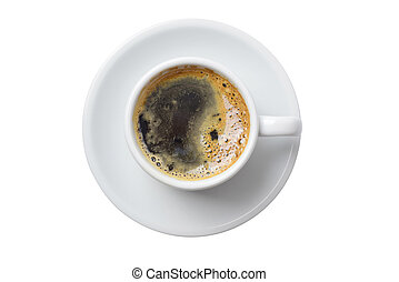 ledig, tasse kaffee, freigestellt, weiß