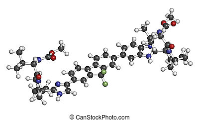 Ledipasvir hepatitis C virus (HCV) drug molecule. Atoms are represented as spheres with conventional color coding: hydrogen (white), carbon (grey), oxygen (red), nitrogen (blue), fluorine (light green).