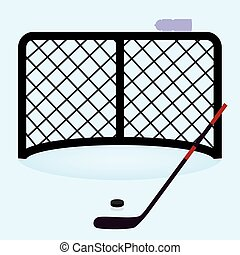 lední hokej, čistý, branka, s, pozemní hokej strčen, a,...