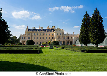 Lednice Castle in South Moravia in the Czech Republic - Side...