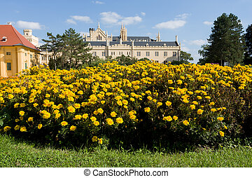 Lednice Castle in South Moravia in the Czech Republic - View...